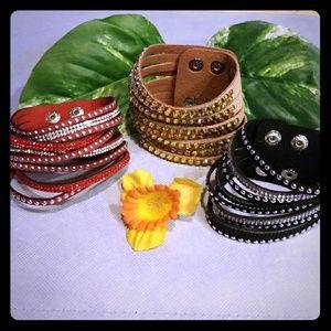 3 Faux Leather 9 layer Bracelets